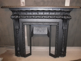 6 Cast iron fireplace after galvanising & paint work